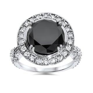 Bliss 14k White Gold 7 1/3ct TDW Black and White Diamond Halo Vintage Engagement Ring (G-H, I1-I2)