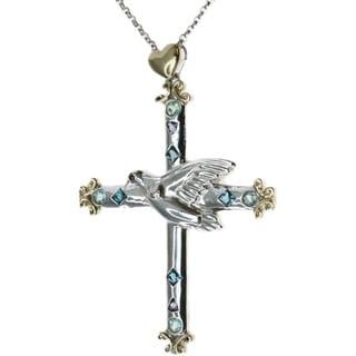 Michael Valitutti London Blue Topaz, Iolite and Apatite Cross Pendant Necklace