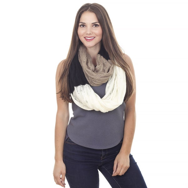 Color Block Pointelle Loop Scarf