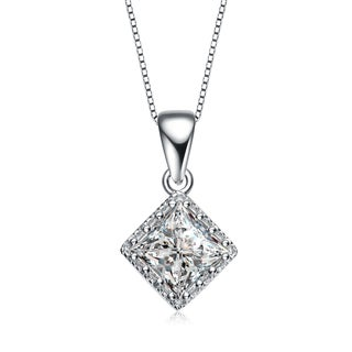 Collette Z Sterling Silver Cubic Zirconia Square Stud Style Necklace