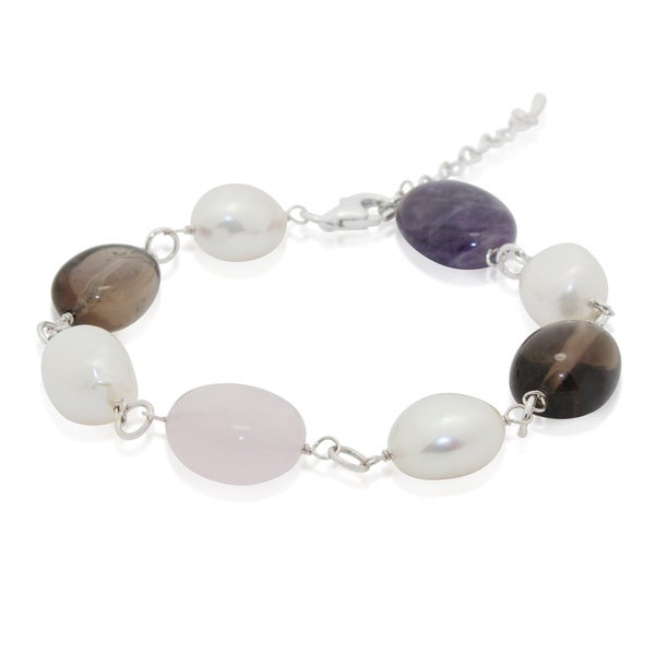 Gioelli Sterling Silver Multi Dark Gemstone Freshwater Pearl Bracelet