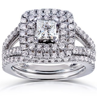 14k White Gold 1 1/2ct TDW Princess-cut Double Halo Diamond Bridal Set (H-I, I1-I2)
