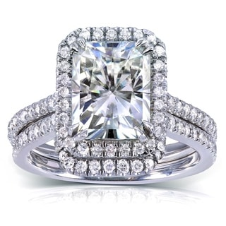 Annello 14k White Gold Radiant-cut Moissanite and 1/2ct TDW Diamond Bridal Set (G-H, I1-I2) with Bonus Item