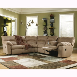 Signature Deisgn by Ashley Amazon Mocha Right and Left Arm Facing Reclining Sectional