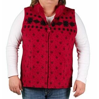 Jane Ashley Women's Plus Printed Plush Fleece Vest