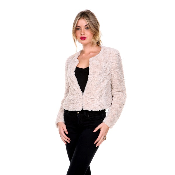 Stanzino Women's Faux Fur Cropped Bolero Jacket