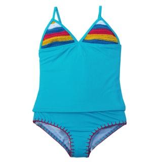Azul Swimwear Girls' Turquoise Hippie Hippie Shake Tankini