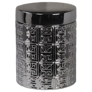 Metallic Silver Container with Lid