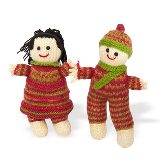 Sitara Collections Handmade Plush Boy and Girl Doll Set (India)