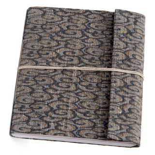 Hand-woven Blue Swirl Damask Weave Silk Notebook (India)