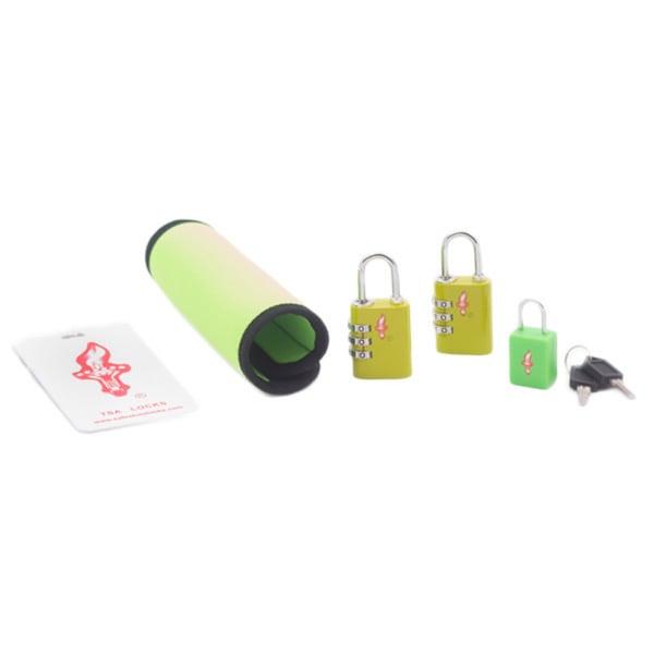 Safe Skies Green TSA Luggage Lock, Tag and Grip Set