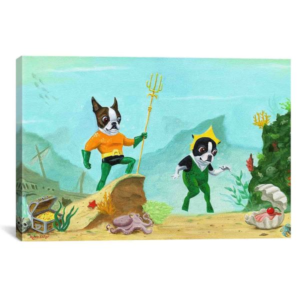 iCanvas Brian Rubenacker Aqua Terrier Print Canvas Print Wall Art