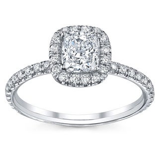 18k White Gold 3/4ct TDW Cushion-cut Diamond Engagement Ring (H, SI2)