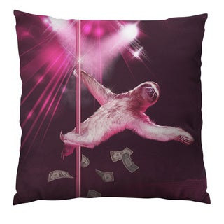 Dancing Sloth Throw Pillow