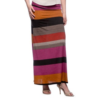 Tabeez Striped Herringbone Maxi Skirt