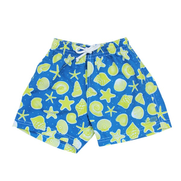 Azul Swimwear Boys' Navy and Green Shells Swim Shorts