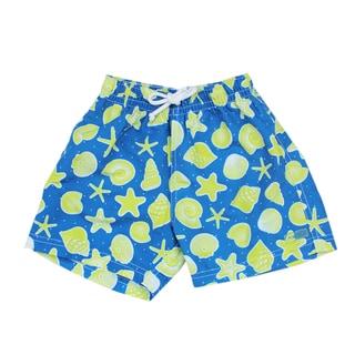 Azul Swimwear Boys' Navy and Green Shells Swim Shorts