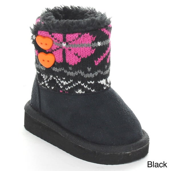 Rck Bella Polo-7I Infant Baby Girl's Knit Sweater Button Snow Boots
