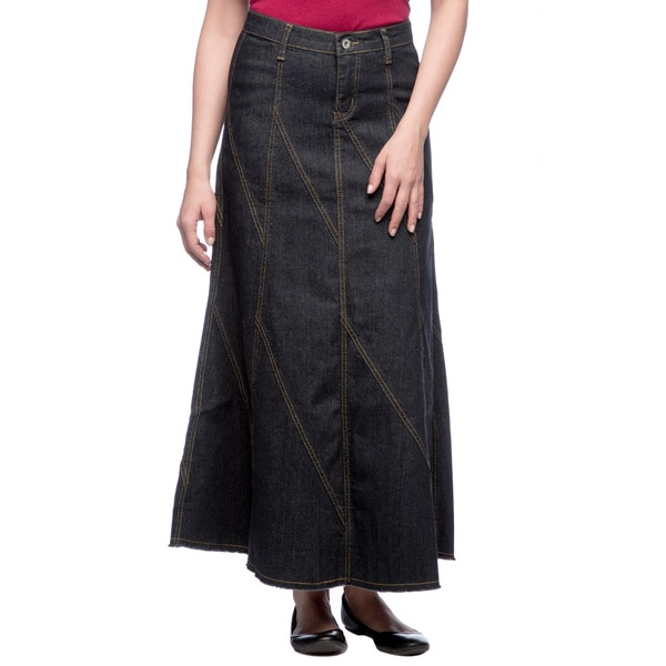 Tabeez Stitched Long Denim Skirt