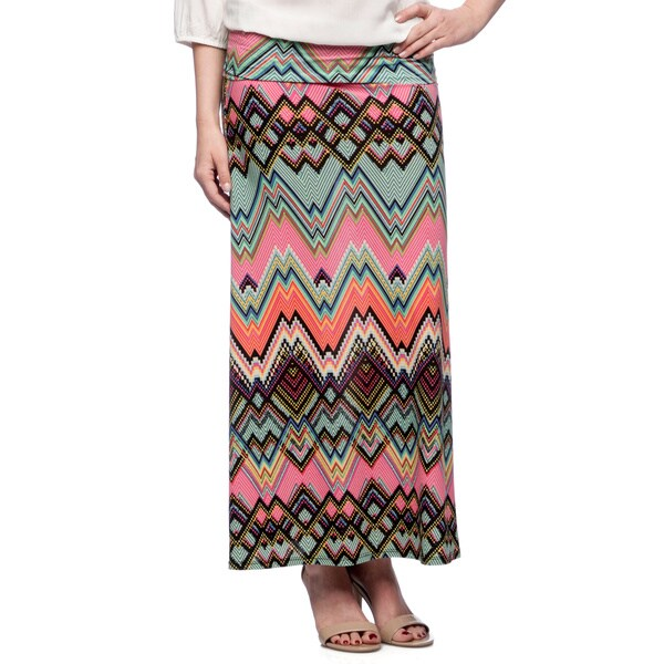 Tabeez Women's Pixel Chevron Jersey Maxi Skirt