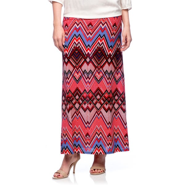 Tabeez Women's Pixel Chevron Jersey Maxi Skirt Red