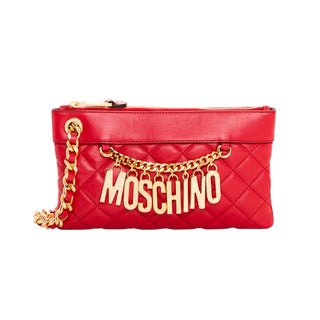 Moschino Red Quilted Leather Wristlet