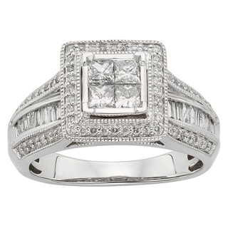 Sofia 10k White Gold 1ct TDW Princess Cut Certified Diamond Ring (H-I, I1-I2)