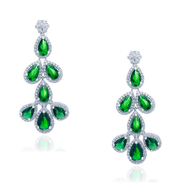 Blue Box Jewels Emerald Cubic Zirconia Multi-drop Earrings