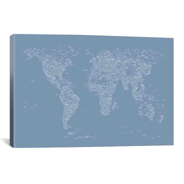 iCanvas Michael Thompsett Font World Map (Light Blue) Canvas Print Wall Art