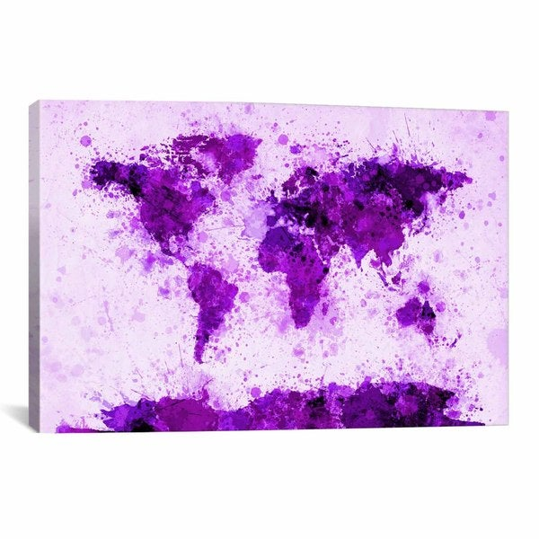 iCanvas Michael Thompsett World Map Paint Splashes (Purple) Canvas Print Wall Art