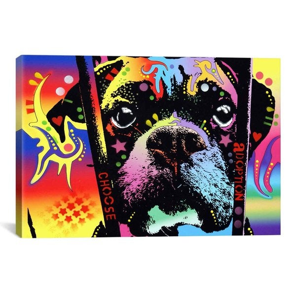 iCanvas Dean Russo Choose Adoption Boxer Canvas Print Wall Art