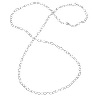 Sterling Essentials Silver Hammered Oval Link Necklace