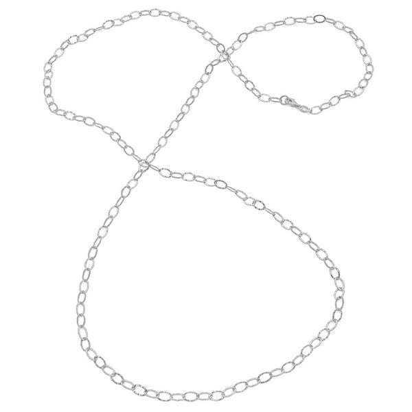 Sterling Essentials Silver Hammered Oval Link Necklace