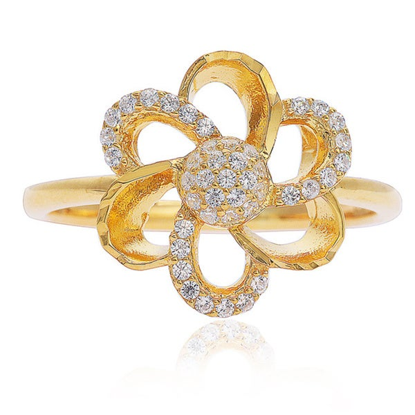 Blue Box Jewels Gold Over Silver Cubic Zirconia Daisy Flower Ring