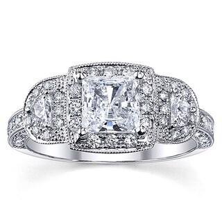 18k White Gold 1 3/4ct TDW Certified Halo Princess Diamond Engagement Ring (H-I, SI2-SI3)