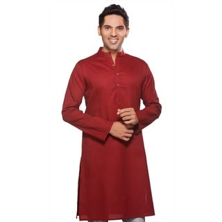 Indian Clothing Men's Long Fitted Kurta Tunic Banded Collar Solid Color Shirt