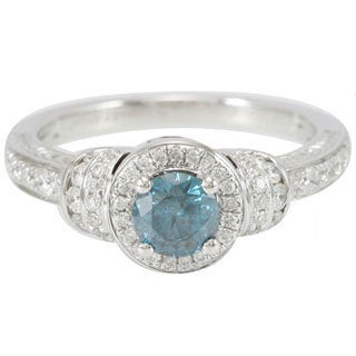 Suzy Levian 14k White Gold 1 3/8ct TDW Blue and White Diamond Ring (G-H, I1-I2)