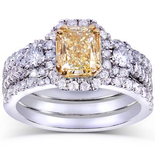 Annello 14k Gold 2 4/5ct TDW Certified Radiant-cut Fancy Yellow and White Diamond Bridal Set (FY, VS2)