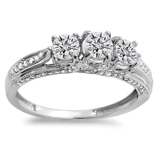 14k White Gold 1ct TDW Round Diamond Vintage Bridal 3-stone Engagement Ring (H-I, I1-I2)