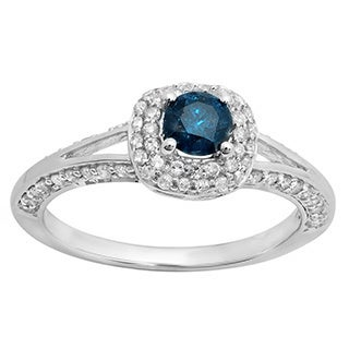 14k White Gold 7/8ct TDW Round-cut Blue and White Diamond Halo Bridal Ring (H-I, I1-I2)