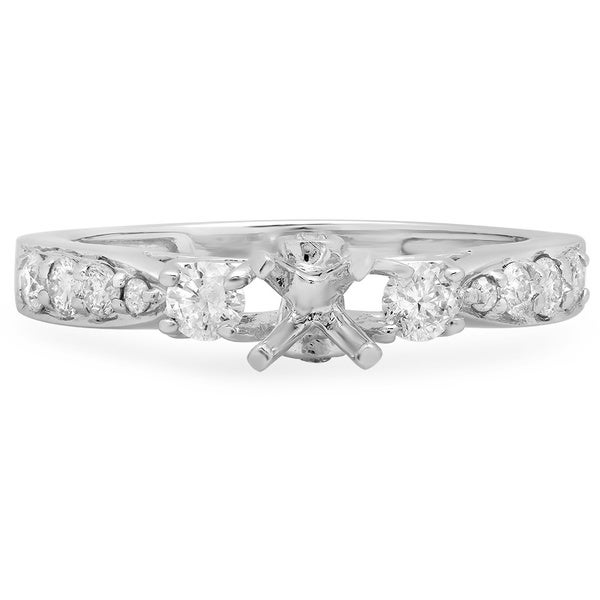 0.50 Carat (ctw) 14k White Gold Round Diamond Ladies Bridal Semi Mount Engagement Ring 1/2 CT (No Center Stone)