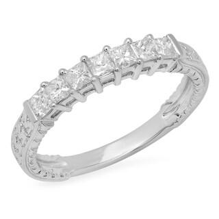 0.55 Carat (ctw) 14k White Gold Princess Diamond Ladies Anniversary Wedding Band Stackable Ring