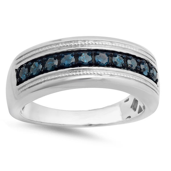 Mens Sterling Silver 1 2ct TDW Round Blue Diamond Wedding Ring