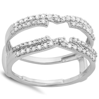 14k White Gold 1/2ct TDW Round Diamond Anniversary Band Enhancer Swirl Double Guard Ring (H-I, I1-I2)