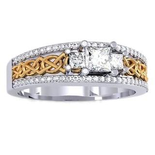 1/2ct TDW 14k Two-tone Gold Princess and Round-cut Diamond 3-stone Bridal Engagement Ring (H-I, I1-I2)