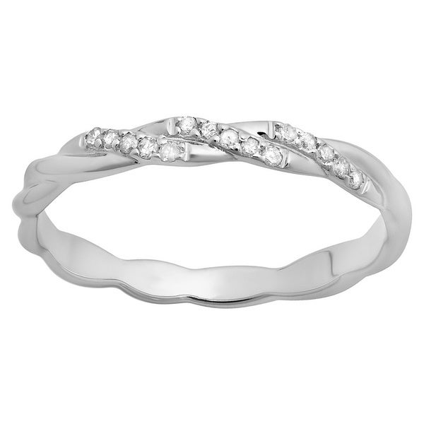 14k White Gold 1 10ct TDW Round cut Diamondswirl Anniversary Wedding Ring H