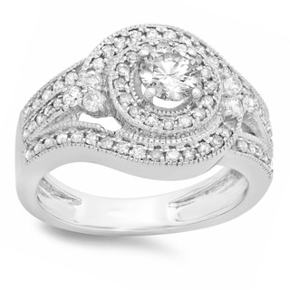 14k White Gold 7/8ct TDW Diamond Bridal Halo Engagement Ring (H-I, I1-I2)