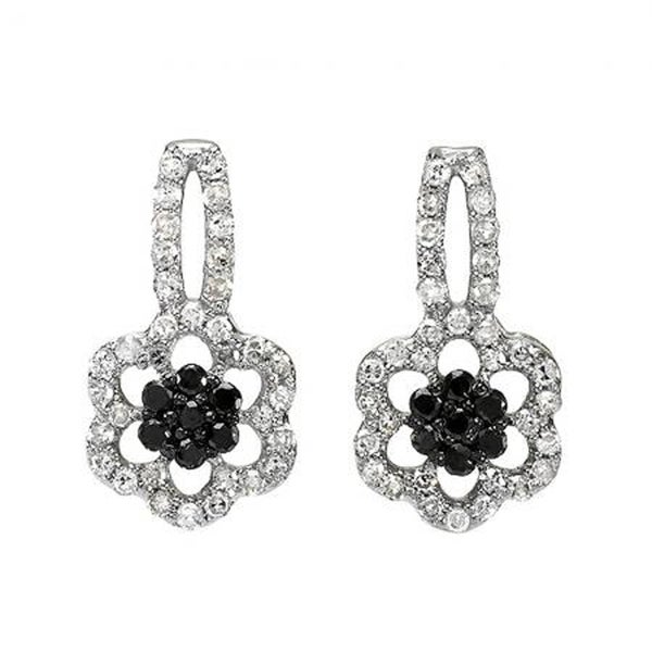 10k White Gold 2/5ct TDW Floral Diamond Cluster Drop Earrings (I-J, I2-I3)