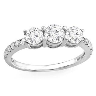 14k White Gold Brilliant Round 1ct TDW Diamond 3 Stone Engagement Bridal Ring