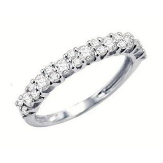 14k White Gold 1ct TDW Round Diamond Wedding Ring Band Stackable